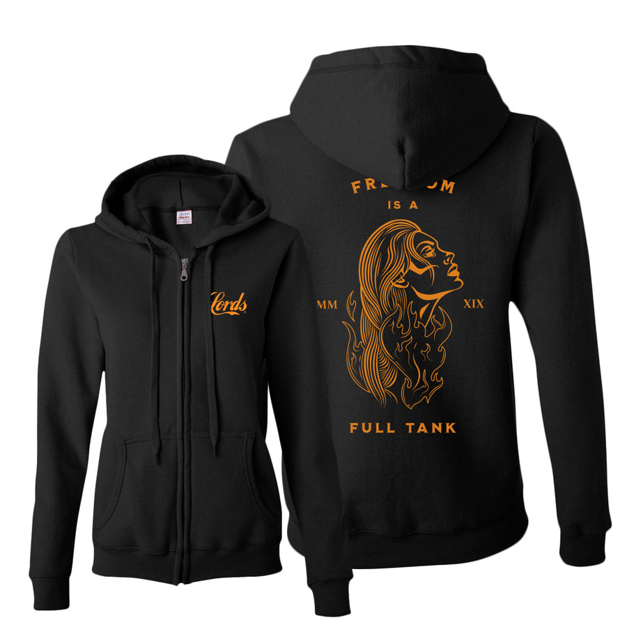 Lords Of Gastown - Freedom Is A Full Tank - Women's Zip Up Hoodie w/ Limited Harley Orange Print