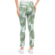 Ankle white green print palm