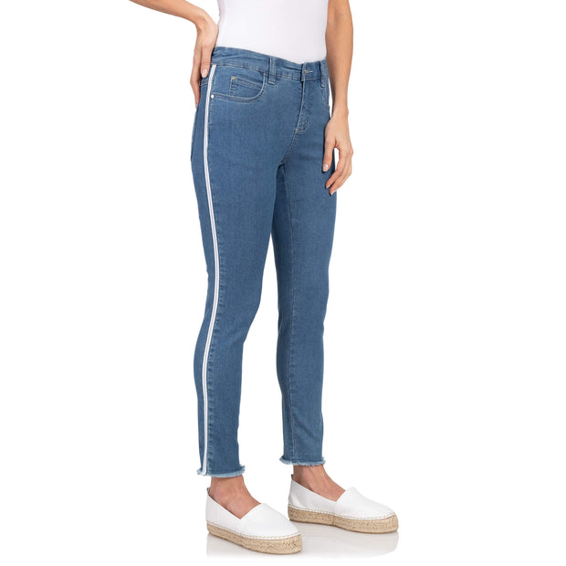 Wonderjeans wg70 gallon ankle enkel bies voorkant Sea Blue