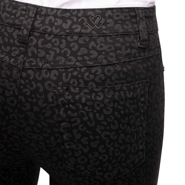 Skinny Black Grey Leopard back pocket
