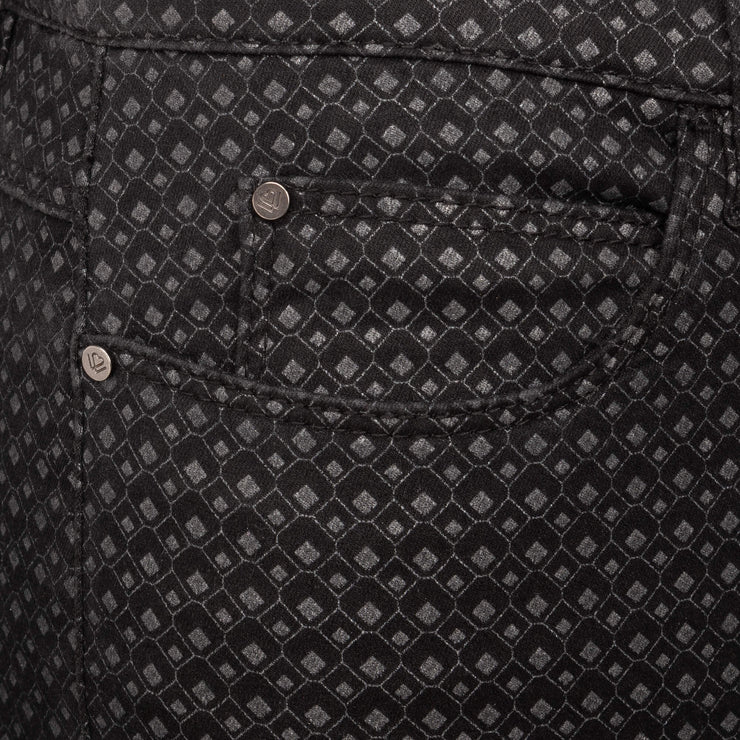 detail Black Grey Diamond Print