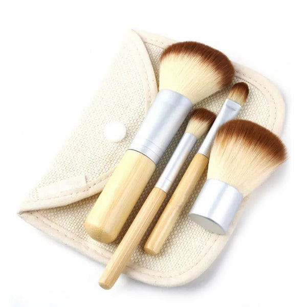 Compact Bamboo Makeup Brush Set