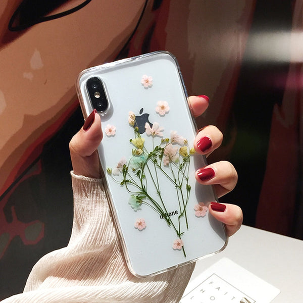 Dried Flowers Clear iPhone Case