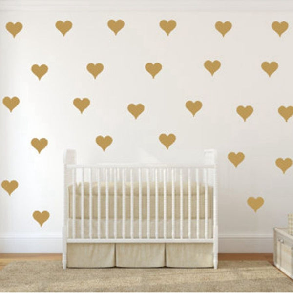 Gold Heart Wall Stickers