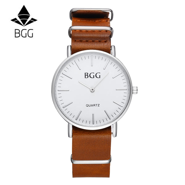 Leather Strap Classic Round Face Watch