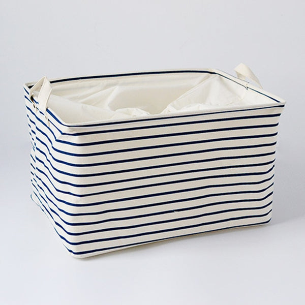 Striped Navy Cotton Storage Box