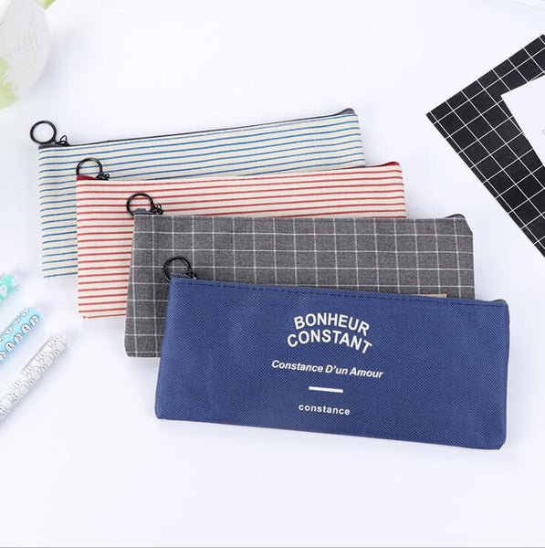 Striped Canvas Pencil Case