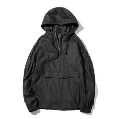 Mens Black Leather Front Pocket Anorak