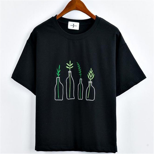 Embroidered Plant Tee