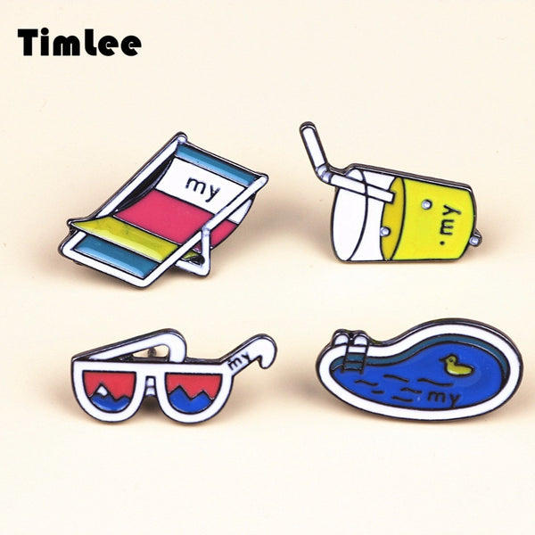 X099 Free shipping Cartoon Summer Drink Sunglasses Swimming Pool Beach chair Metal Brooch Pins Button Pins Fashion Wholesale