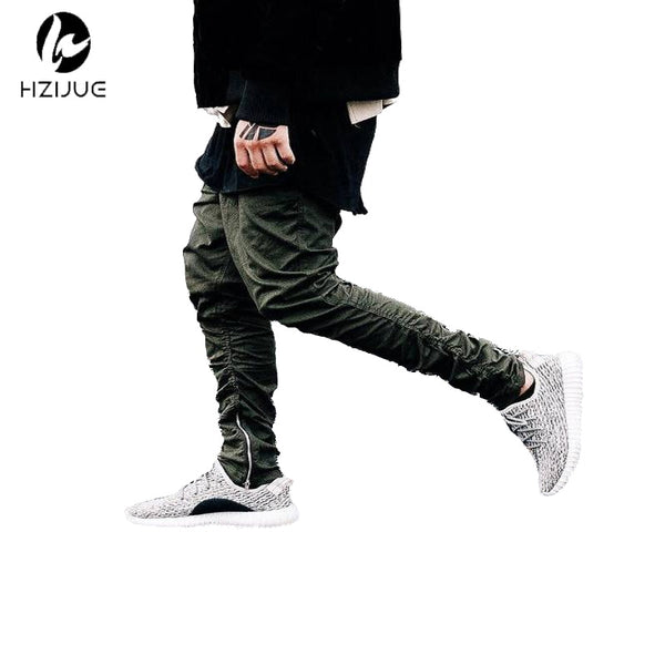 Olive Mens Slim Ankle Zip Jogger Pants