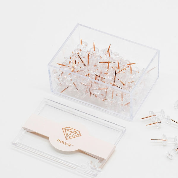 100pc Clear Gold Push Pins