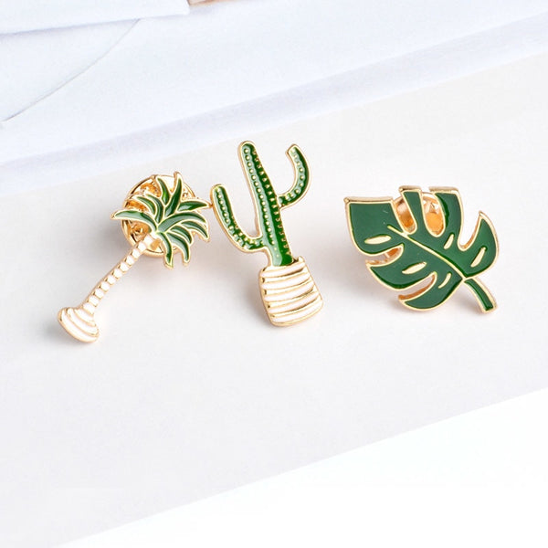 Coconut Cactus Leaf Brooches