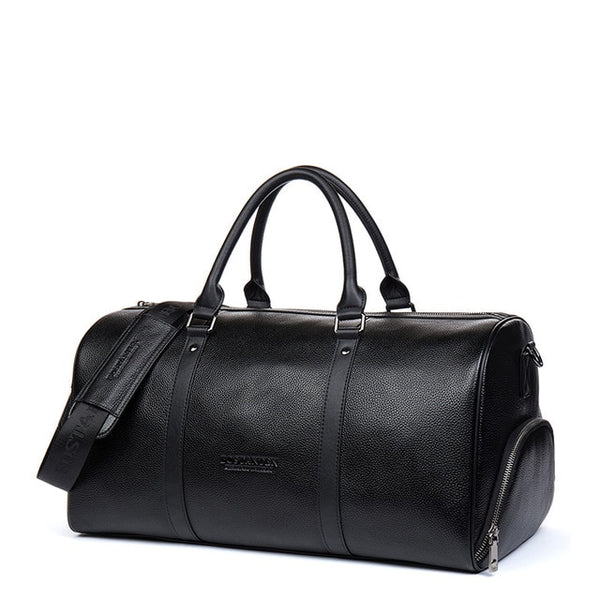 Leather Weekender Barrel Bag