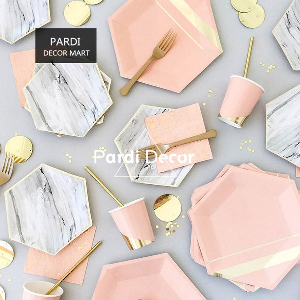 Marble & Gold Disposable Tableware