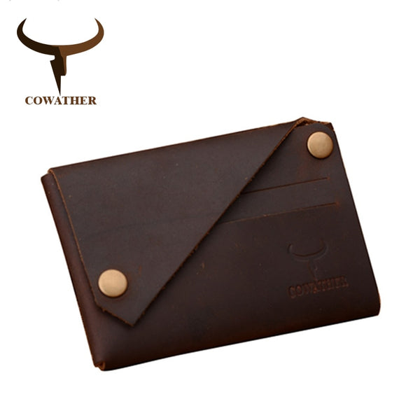 Genuine Leather Button Wallet