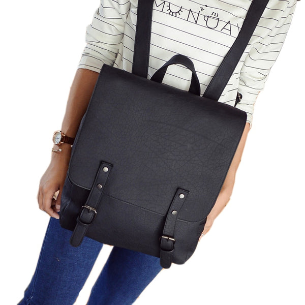 Womens Leather Buckle Down Backpack
