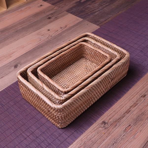 Handmade Natural Rattan Storage Basket
