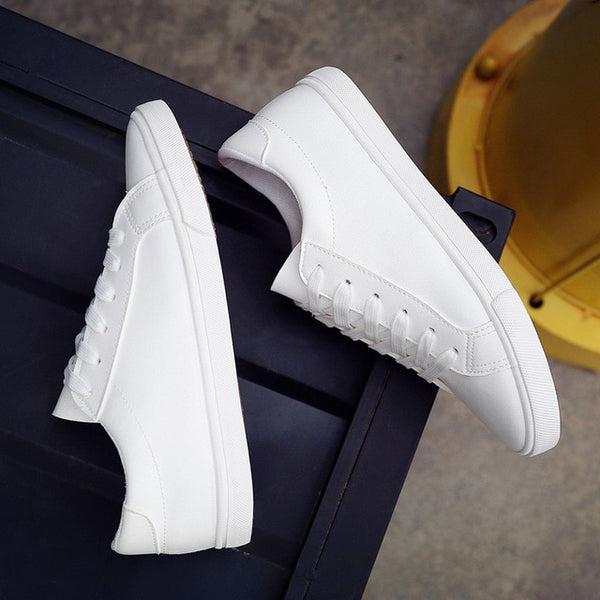 Womens White Leather Sneakers