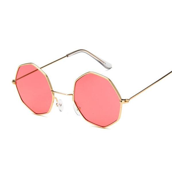 Retro Gold Rimmed Rose Tint Sunglasses