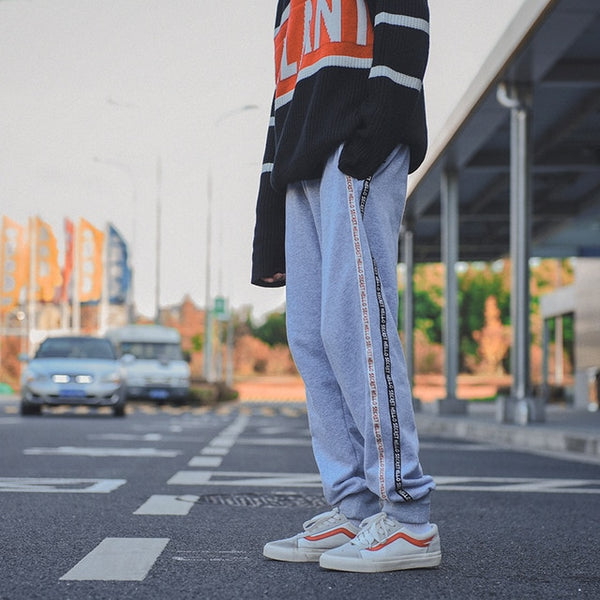 Contrast Stripe Grey Sweat Pants