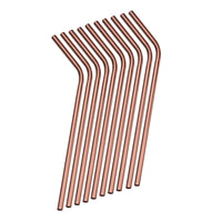 4pc Reusable Metal Rose Gold Straws