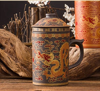 Painted Dragon Tea Mug with Lid