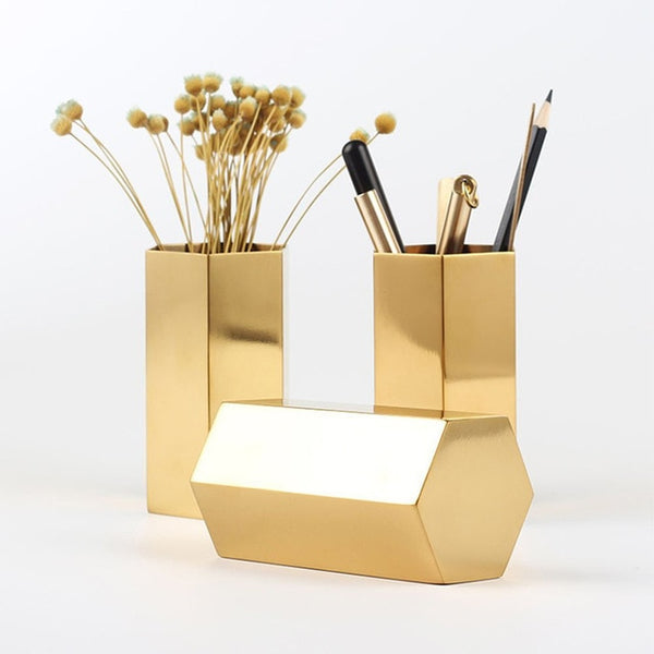 Hex Gold Pencil Holder