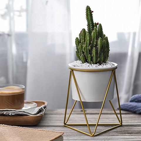Geometric Plant Stand with Ceramic Pot