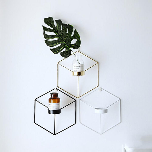 Hexagon Iron Wall Mounted Vase Simple Stereo Iron Puzzle Wall Decoration Planter Flower Arranger
