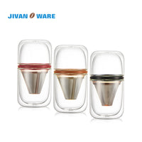 JIVANWARE Luxury Portable Coffee Brewer Heat Resistant Glass Pour Over Stainless Steel Filter Travel Mate Japanese Style
