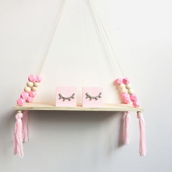 Nordic Hanging Beaded Wall Shelf