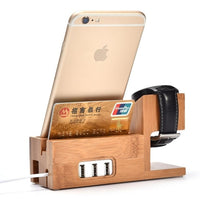 Iphone 6 and Apple Watch Bamboo Dock