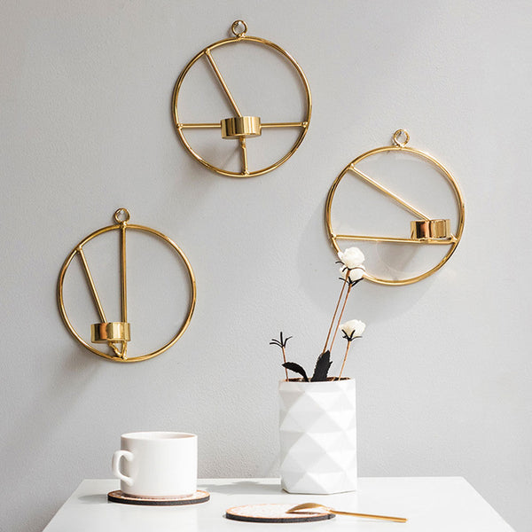 Gold Geometric Wall Candle Holder