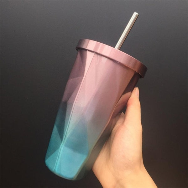 Double Wall Angled Metal Travel Cup
