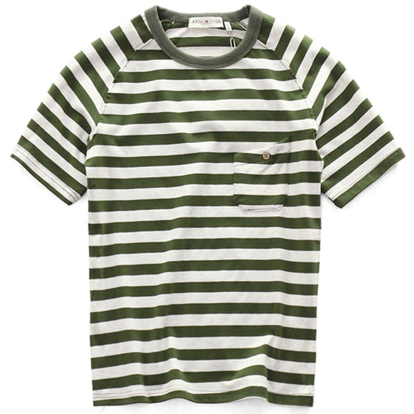 Olive Striped Breton T-Shirt