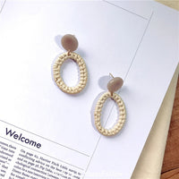 Rattan Straw Weave Drop Earrings