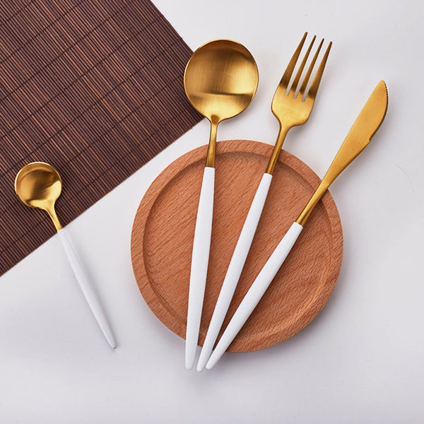 4 Piece White & Gold Flatware