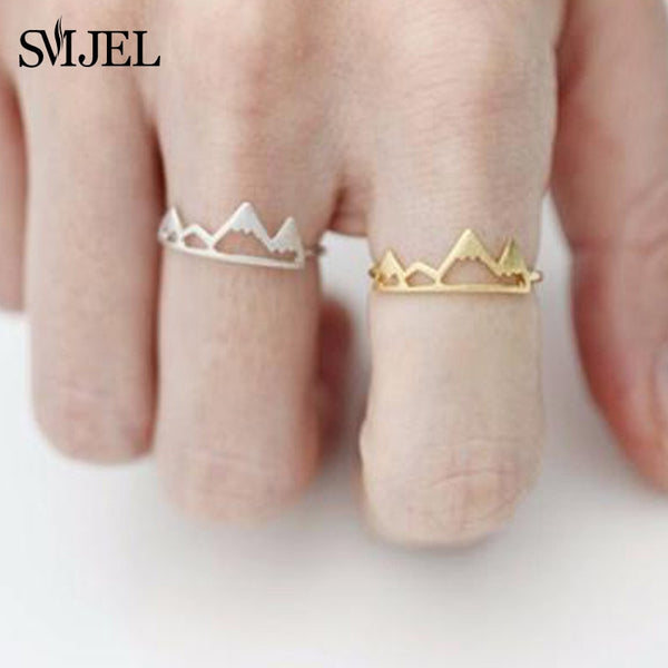 SMJEL New Tiny Snow Mountain Ring Open Cuff Rings For Women Birthday gifts Size 6.5 Adjustable Rock Climbing Jewelry Bijoux R171