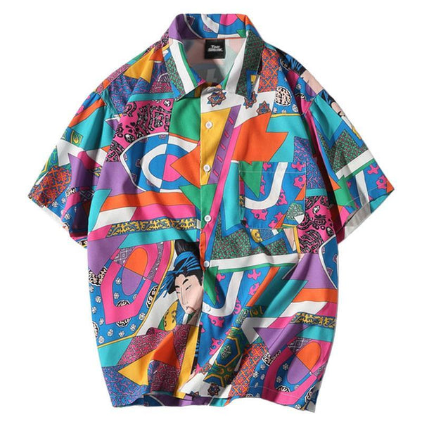 Japanese Party Print Revere Shirt