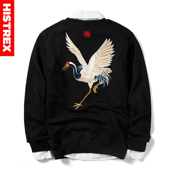 Japanese Crane Embroidered Sweatshirt