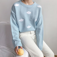 2018 Women'S Kawaii Ulzzang Vintage College Loose Clouds Sweater Female Korean Punk Thick Cute Loose Harajuku Clothing For Women