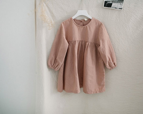 Long Sleeve Cotton Dress with Gathered Waist