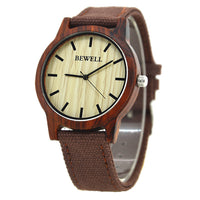 Wood Face Canvas Band Watch