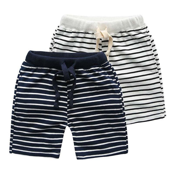 Navy Striped Kids Shorts