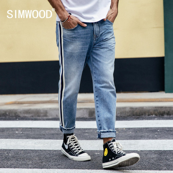 Stripe Seam Tapered Mens Jeans