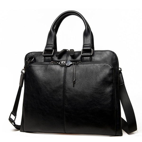 Black Leather Laptop Messenger Bag