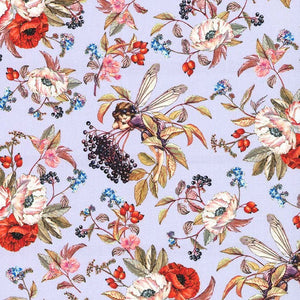 Elderberry Flower Fairies Fabric Lavender
