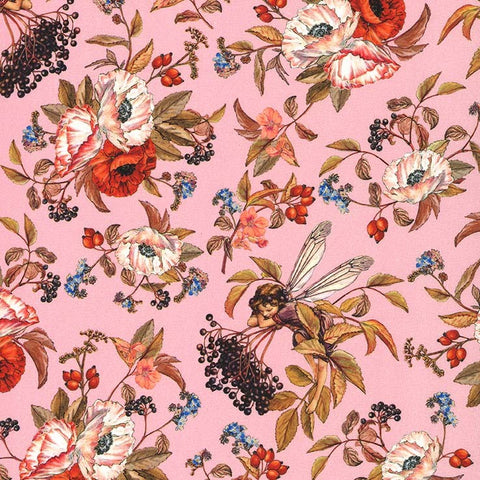 Elderberry Flower Fairies Fabric Pink