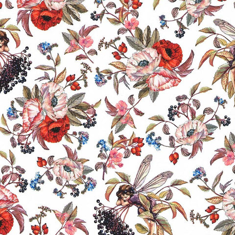 Elderberry Flower Fairies Fabric White
